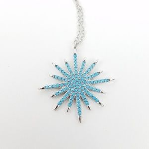 Jewelry - Sterling SILVER Turquoise CZ Starburst Pendant